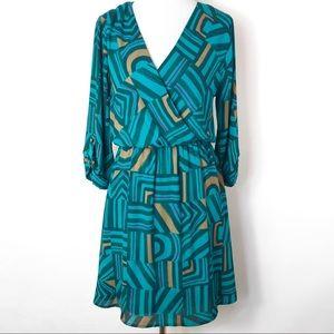 Everly Geometric Print Wrap Style Dress